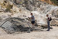 Pozzuoli, 19 Giugno, 2017. Turisti nella solfatara di Pozzuoli. L'intera area &egrave; considerata dagli esperti come una delle pi&ugrave; pericolose per quanto riguarda la possibile eruzione del vulcano sottostante.<br /> Antonello Nusca/Buenavista photo