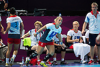 25 JUL 2012 - LONDON, GBR - Britt Goodwin (GBR) of Great Britain (#9, third from the left) replaces Holly Lam Moores (GBR) (left) during the women's London 2012 Olympic Games warm up handball match  against Spain in The Copper Box in the Olympic Park, in Stratford, London, Great Britain (PHOTO (C) 2012 NIGEL FARROW)