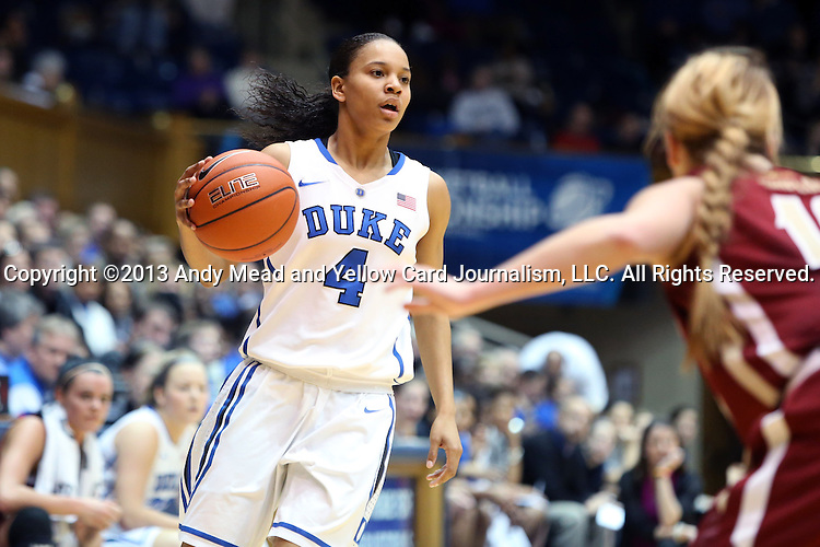 27 January 2013: Duke's Chloe Wells (4). The Duke University Blue Devils played the Boston College Eagles at Cameron Indoor Stadium in Durham, North Carolina in an NCAA Division I Women's Basketball game. Duke won the game 80-56.