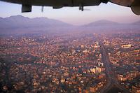 Kathmandu at dusk from aircraft, Nepal, 2008