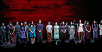 "Female ensemble cast members during The Opening Night Curtain Call Bows for the New Broadway Production of ""Miss Saigon"" at the Broadway Theatre on March 23, 2017 in New York City"