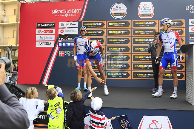 Groupama-FDJ at sign on before the start of the 99th edition of Milan-Turin 2018, running 200km from Magenta Milan to Superga Basilica Turin, Italy. 10th October 2018.<br /> Picture: Eoin Clarke   Cyclefile<br /> <br /> <br /> All photos usage must carry mandatory copyright credit (© Cyclefile   Eoin Clarke)
