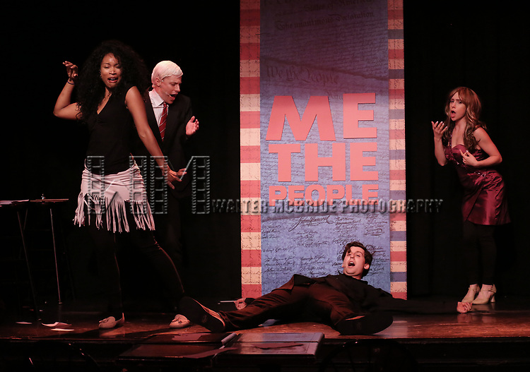 Mitchel Kawash, Aiesha Alia Dukes, Richard Spitaletta, and Mia Weinberger perform onstage during the 'ME THE PEOPLE: The Trump America Musical' Press Preview Presentation at The Triad Theater on June 21, 2017 in New York City.