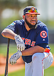 4 March 2016: Houston Astros infielder Jon Singleton awaits his turn in the batting cage prior to a Spring Training pre-season game against the St. Louis Cardinals at Osceola County Stadium in Kissimmee, Florida. The Astros defeated the Cardinals 6-3 in Grapefruit League play. Mandatory Credit: Ed Wolfstein Photo *** RAW (NEF) Image File Available ***