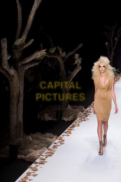 MODEL.Mercedes-Benz Spring 2007 L.A. Fashion Week - Sheri Bodell - Runway held at Smashbox Studios, Culver City, California, USA..October 18th, 2006.Ref: ADM/ZL.catwalk modelling full length beige dress.www.capitalpictures.com.sales@capitalpictures.com.©Zach Lipp/AdMedia/Capital Pictures.