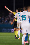 Real Madrid Jesus Vallejo receive red card during Copa del Rey match between Fuenlabrada and Real Madrid at Fernando Torres Stadium in Madrid, Spain. October 26, 2017. (ALTERPHOTOS/Borja B.Hojas)