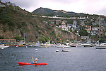 Sea Kayak and boats anchored in Avalon Harbor, Catalina Island, California