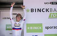 Podium with Slovenian Champion Matej Mohoric (SLO/Bahrain Merida) after ending up 1st place and winning the Binck Bank Tour 2018.<br /> <br /> Binckbank Tour 2018 (UCI World Tour)<br /> Stage 7: Lac de l'eau d'heure (BE) - Geraardsbergen (BE) 212.7km