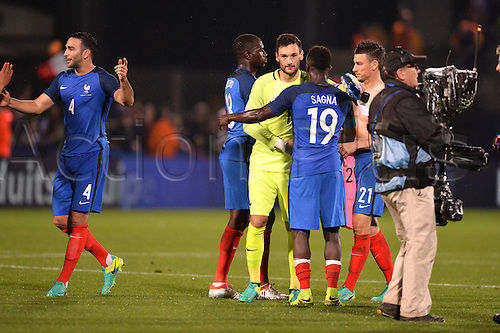 04.06.2016. Stade Saint Symphorien, Metz, France. International football freindly,France versus Scotland.  PAUL POGBA - ADIL RAMI - Laurent Koscielny - HUGO LLORIS celebrate their win