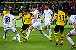 09.02.2019, Signal Iduna Park, Dortmund, GER, 1.FBL, Borussia Dortmund vs TSG 1899 Hoffenheim, DFL REGULATIONS PROHIBIT ANY USE OF PHOTOGRAPHS AS IMAGE SEQUENCES AND/OR QUASI-VIDEO<br /> <br /> im Bild | picture shows:<br /> Mario Goetze (Borussia Dortmund #10) setzt sich gegen Stefan Posch (Hoffenheim #38) und Benjamin Huebner (Hoffenheim #21) durch, <br /> <br /> Foto © nordphoto / Rauch