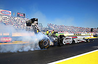 Mar 14, 2014; Gainesville, FL, USA; NHRA top fuel dragster driver Shawn Langdon during qualifying for the Gatornationals at Gainesville Raceway Mandatory Credit: Mark J. Rebilas-USA TODAY Sports