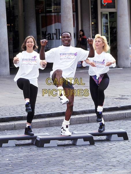 SUZANNE DANDO, CHRIS EUBANK & JENNY AGUTTER .Ref: 066.exercise, aerobics class, t-shirt, charity.www.capitalpictures.com.sales@capitalpictures.com.© Capital Pictures