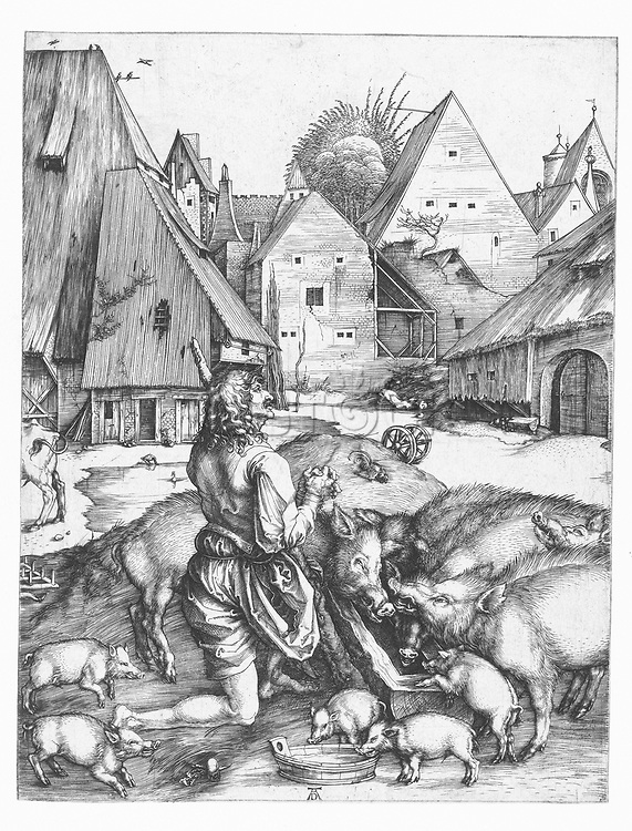 The lost son at the boar, Albrecht Dürer, 1494 - 1498