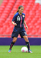 August 06, 2012..Japan's Homare Sawa #10, during Semi Final match at the Wembley Stadium on day ten in Wembley, England. Japan defeats France 2-1 to reach Women's Finals of the 2012 London Olympics.