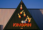 A753R3 Sign with balls and pins Kingpin bowling alley Martlesham near Ipswich Suffolk England