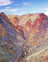 Colorful rocks and road in Leslie Gulch. Oregon.