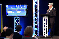 30 MAY 2012 - LONDON, GBR - Commentator Paul Bray announces  the groups for this summer's men's competition during the London 2012 Olympic Games Handball Draw at the National Sports Centre in Crystal Palace, Great Britain (PHOTO (C) 2012 NIGEL FARROW)