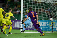7th February 2020; HBF Park, Perth, Western Australia, Australia; A League Football, Perth Glory versus Wellington Phoenix; Alexander Grant of the Perth Glory cannot stop the goal as Gary Hooper of Wellington Phoenix scores from a header in the 68th minute for 2-1