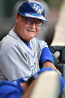 Bench coach Glenn Hubbard (17) of the Lexington Legends in a game against the Greenville Drive on Wednesday, April 12, 2017, at Fluor Field at the West End in Greenville, South Carolina. Greenville won, 4-1. (Tom Priddy/Four Seam Images)