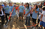 PACOIMA, CA. - October 10: Michael Rady with Shaun Sipos, Colin Egglesfield, Jessica Lucas and Stephanie Jacobsen. breaking ground at The 2009 American Dream Walk To Benefit Habitat For Humanity at Lowe's Home Improvement on October 10, 2009 in Pacoima, California.