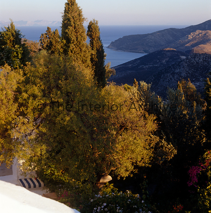 A stunning view of the mountains and coast from a high vantage point on the Greek island of Patmos