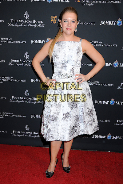MELISSA JOAN HART .17th Annual BAFTA Los Angeles Awards Season Tea Party held at the Four Seasons Hotel, Beverly Hills, California, USA, 15th January 2011..full length white print dress hands on hips sleeveless black shoes  grey gray  .CAP/ADM/BP.©Byron Purvis/AdMedia/Capital Pictures.