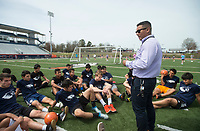 NWA Democrat-Gazette/BEN GOFF @NWABENGOFF<br /> Christhian Saavedra, Rogers Heritage boys soccer head coach and Kirksey Middle School 8th grade Spanish teacher, talks to the team Wednesday, April 11, 2018, during practice at Rogers Heritage High. Saavedra was named the Rogers Public Schools middle school teacher of the year Wednesday.