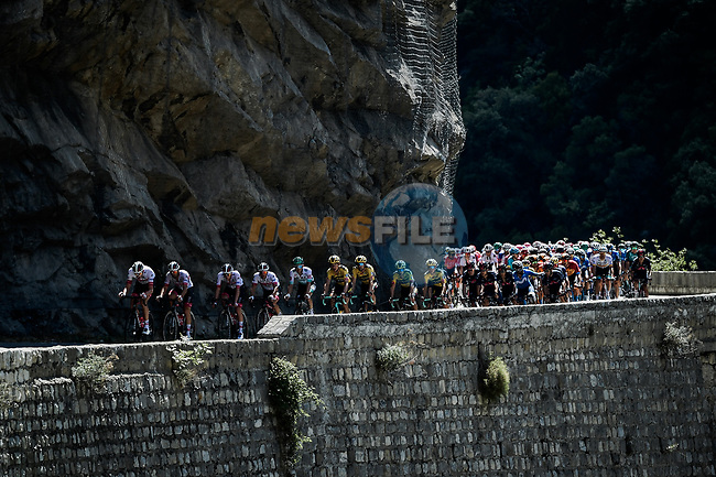 The peloton led by UAE Team Emirates during Stage 2 of Tour de France 2020, running 186km from Nice Haut Pays to Nice, France. 30th August 2020.<br /> Picture: ASO/Alex Broadway   Cyclefile<br /> All photos usage must carry mandatory copyright credit (© Cyclefile   ASO/Alex Broadway)