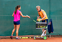 Almere, The Netherlands, August 24, 2018,  National Tennis Center, Coach Roel Oostdam (NED) with Arianne Hartono (NED)<br /> Photo: Tennisimages/Henk Koster