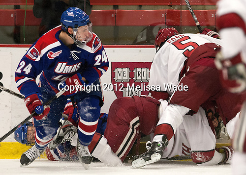 - The visiting University of Massachusetts Lowell River Hawks defeated the Harvard University Crimson 5-0 on Monday, December 10, 2012, at Bright Hockey Center in Cambridge, Massachusetts.