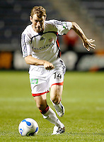 New England Revolution midfielder Steve Ralston (14) dribbles toward the Chicago Fire goal.  The Chicago Fire defeated the New England Revolution 2-1 in the quarterfinals of the U.S. Open Cup at Toyota Park in Bridgeview, IL on August 23, 2006...