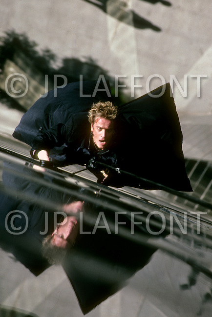 "Los Angeles, U.S.A, 1989. Christopher Lambert during the filming of the movie ""Why Me?"". He is very famous for perfoming his own stunts."