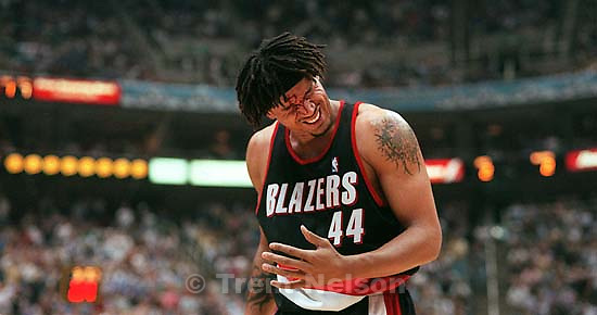 Brian Grant bleeds after taking a Karl Malone elbow to the face at Jazz vs. Portland TrailBlazers, game five, NBA playoffs, second round. Jazz won<br />
