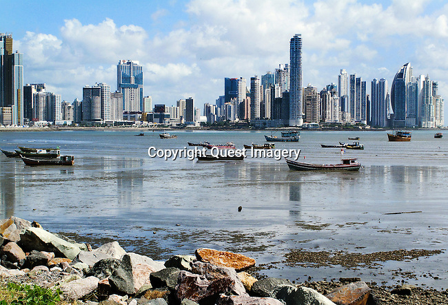 A view of Panama City from Casco Viejo (The Old City) at low tide in Panama City, Panama. The area is also known as Casco Antiguo or San Felipe. It is the historic district of Panama City, Panama. Completed and settled in 1673, it was built following the near-total destruction of the original Panam&aacute; City, known today as Panam&aacute; Viejo, in 1671.  It was designated a World Heritage Site in 1997. <br /> Photo by Mike Rynearson/Quest Imagery