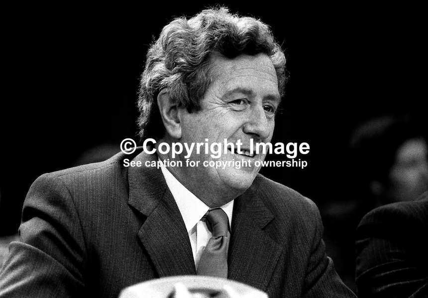Garret FitzGerald, TD, Fine Gael, leader, Rep of Ireland, on platform at his party's Ard Fheis, annual conference, 17th October 1982. 19821017134GF2.<br /> <br /> Copyright Image from Victor Patterson,<br /> 54 Dorchester Park, <br /> Belfast, UK, BT9 6RJ<br /> <br /> t1: +44 28 9066 1296 (from Rep of Ireland 048 9066 1296)<br /> t2: +44 28 9002 2446 (from Rep of Ireland 048 9002 2446)<br /> <br /> m: +44 7802 353836<br /> <br /> e: victorpatterson@me.com<br /> www.victorpatterson.com<br /> <br /> Please see my Terms and Conditions of Use at www.victorpatterson.com. It is IMPORTANT that you familiarise yourself with them.<br /> <br /> Images used on the Internet must be visibly watermarked i.e. &copy; Victor Patterson<br /> within the body of the image and copyright metadata must not be deleted. Images <br /> used on the Internet have a size restriction of 4kbs and will be chargeable at current<br />  NUJ rates unless agreed otherwise.<br /> <br /> This image is only available for the use of the download recipient i.e. television station, newspaper, magazine, book publisher, etc, and must not be passed on to any third <br /> party. It is also downloaded on condition that each and every usage is notified within 7 days to victorpatterson@me.com<br /> <br /> The right of Victor Patterson to be identified as the author is asserted in accordance with The Copyright Designs And Patents Act (1988). All moral rights are asserted.