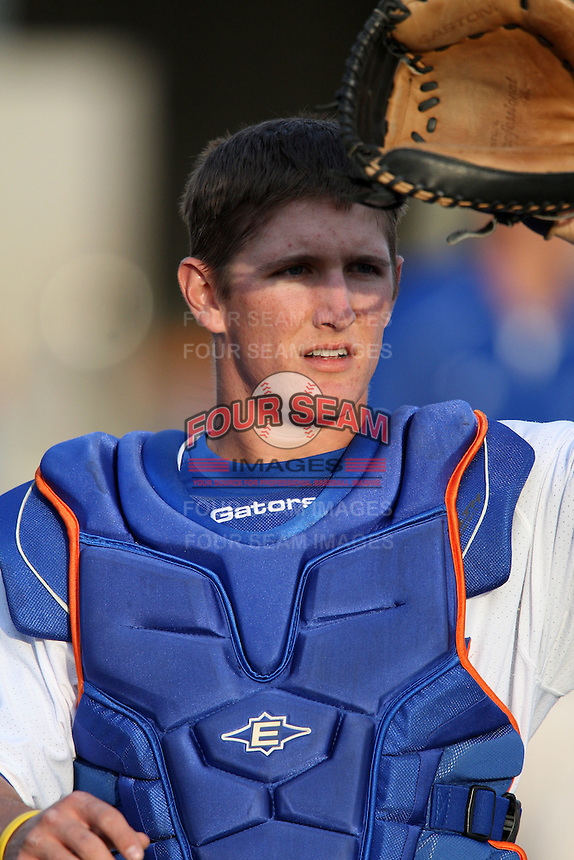 March 9, 2010:  Catcher Hampton Tignor of the Florida Gators during a game at McKethan Stadium in Gainesville, FL.  Photo By Mike Janes/Four Seam Images