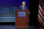 High Point University President Dr. Nido Qubein addresses the crowd during a presentation at the Hayworth Fine Arts Center on the campus of High Point University on March 27, 2018 in High Point, North Carolina.  (Brian Westerholt/Sports On Film)