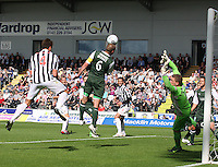 James McPake intercepts in the St Mirren v Hibernian Clydesdale Bank Scottish Premier League match played at St Mirren Park, Paisley on 18.8.12.