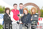 CHAMPION: Champion Jockey John Thomas McNamara, winner of the first race at the North Kerry Harriers Point to Point at Ballybunion on Sunday being presented with the winning trophy. L-r: Paula McNamara and John Thomas McNamara, Rathkeale, Edward, Lauren and Bernadette Hanrahan (Ballybunion), Sponsors of the first race..