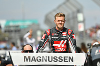 March 26, 2017: Kevin Magnussen (DEN) #20 from the Haas F1 Team waves to the crowd during the drivers' parade lap at the 2017 Australian Formula One Grand Prix at Albert Park, Melbourne, Australia. Photo Sydney Low