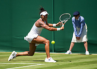 Heather Watson of Great Britain in action during her victory over Anastasija Sevastova (18) of Latvia in their Ladies' Singles Second Round Match today - Watson def Sevastova 6-0, 6-4 <br /> <br /> Photographer Ashley Western/CameraSport<br /> <br /> Wimbledon Lawn Tennis Championships - Day 3 - Wednesday 5th July 2017 -  All England Lawn Tennis and Croquet Club - Wimbledon - London - England<br /> <br /> World Copyright &not;&copy; 2017 CameraSport. All rights reserved. 43 Linden Ave. Countesthorpe. Leicester. England. LE8 5PG - Tel: +44 (0) 116 277 4147 - admin@camerasport.com - www.camerasport.com