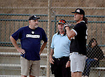 POWAY, CA - JULY 16:  Quarterback Philip Rivers of the San Diego Chargers talks to the ref and the other team captain before his team the &quot;Valley Farm League&quot;  semi-final game in the Regular Joe League at the Poway Sportsplex Softball Field on July 16, 2014 in Poway, California. (CREDIT: Donald Miralle for the Wall Street Journal) <br /> chargers