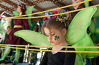 Five-year-old Evelyn Pintus, Fort Myers, waits to join dancers performing during the third annual Florida Faerie Festival in Bonita Springs, Florida, USA, March 19, 2011. Photo by Debi Pittman Wilkey