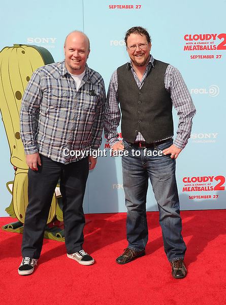 WESTWOOD, CA- SEPTEMBER 21: Directors Cody Cameron (L) and Kris Pearn arrive at the Los Angeles premiere of 'Cloudy With A Chance Of Meatballs 2' at the Regency Village Theatre on September 21, 2013 in Westwood, California.(Cody Cameron; Kris Pearn)<br /> Credit: Mayer/face to face<br /> - No Rights for USA, Canada and France -