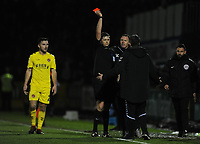 Fleetwood Town manager Joey Barton is sent to the stand by referee Brett Huxtable<br /> <br /> Photographer Kevin Barnes/CameraSport<br /> <br /> The EFL Sky Bet League One - Bristol Rovers v Fleetwood Town - Saturday 22nd December 2018 - Memorial Stadium - Bristol<br /> <br /> World Copyright &copy; 2018 CameraSport. All rights reserved. 43 Linden Ave. Countesthorpe. Leicester. England. LE8 5PG - Tel: +44 (0) 116 277 4147 - admin@camerasport.com - www.camerasport.com