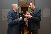 """Pictured L-R: Art dealer Peter Bernaerts and musician Jim Sclavunos. Wednesday 03 April 2019<br /> Re: Press call before the opening of Stefanos Rokos' exhibition """"No More Shall We Part"""" with paintings based on the 2001 Nick Cave and The Bad Seeds album with the same title, Benaki Museum, Athens, Greece."""