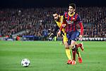 UEFA Champions League 2013/2014.<br /> Quarter-finals 1st leg.<br /> FC Barcelona vs Club Atletico de Madrid: 1-1.<br /> Arda Turan vs Marc Bartra.
