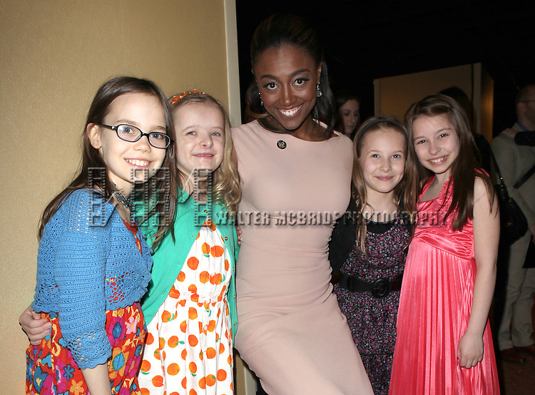 Oona Laurence, Milly Shapiro, Patina Miller, Sophia Shapiro, Bailey Ryon attending the 2013 Tony Awards Meet The Nominees Junket  at the Millennium Broadway Hotel in New York on 5/1/2013...