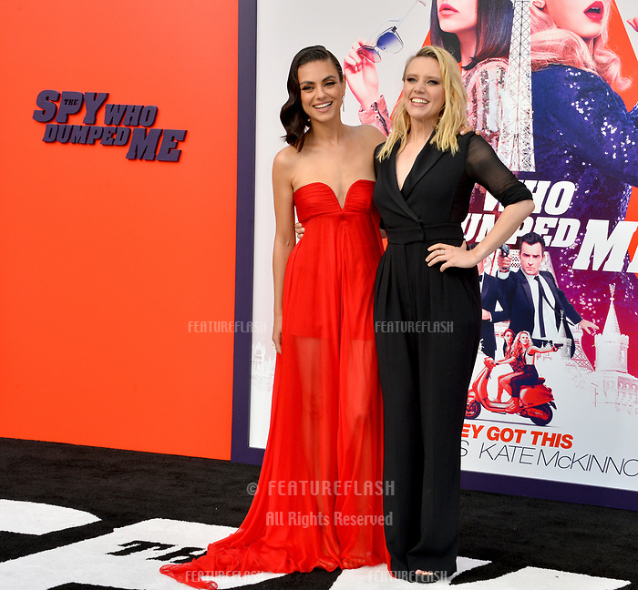 Mila Kunis &amp; Kate McKinnon at the world premiere for &quot;The Spy Who Dumped Me&quot; at the Fox Village Theatre, Los Angeles, USA 25 July 2018<br /> Picture: Paul Smith/Featureflash/SilverHub 0208 004 5359 sales@silverhubmedia.com