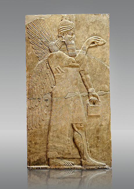 Chaldean Assyrian relief sculpture slab from the northwest palace of King Ashurnasirpal II of a Genie standing. 881-859 B.C form Nimrud or Nimrut ( Kalhu or Kalah). Istanbul Archaeological exhibit Inv. No. 5.